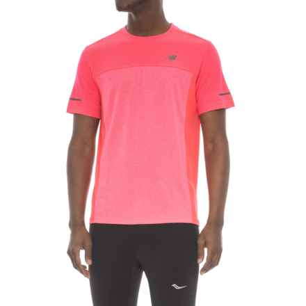 New Balance Color-Block T-Shirt - Short Sleeve (For Men) in Brick - Closeouts