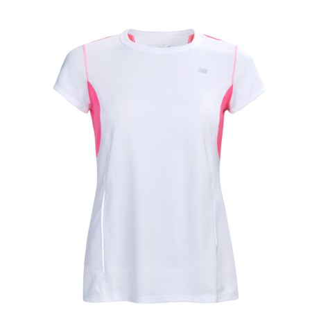 New Balance Color-Block Tempo Shirt - UPF 20+, Short Sleeve (For Women) in White/Pink Shock