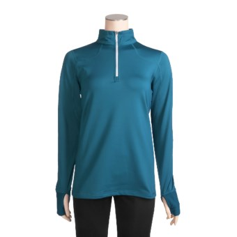 New Balance Competitor Shirt - Zip Neck, Long Sleeve (For Women) in Seaport