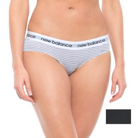 New Balance Confetti Stripe Bonded Panties - Bikini, 2-Pack (For Women) in Steel/Black