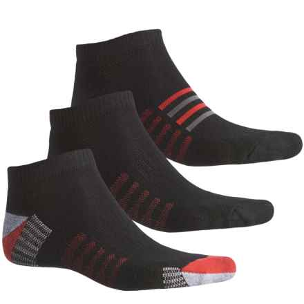New Balance Core-Performance Socks - 3-Pack, Below the Ankle (For Men) in Black/Red/Grey - Closeouts