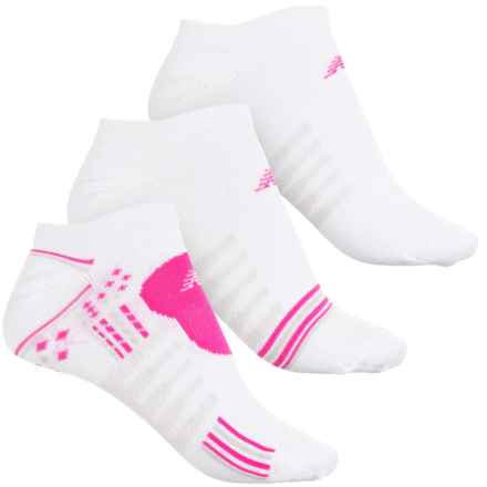 New Balance Core-Performance Socks - 3-Pack, Below the Ankle (For Women) in White/Bright Pink - 2nds
