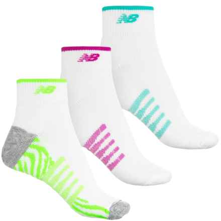 New Balance Core-Performance Socks - 3-Pack, Quarter Crew (For Women) in White/Purple/White/Teal/White/Lime - 2nds