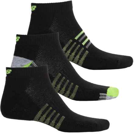 New Balance Core Socks - 3-Pack, Ankle (For Men) in Black/Green - Closeouts