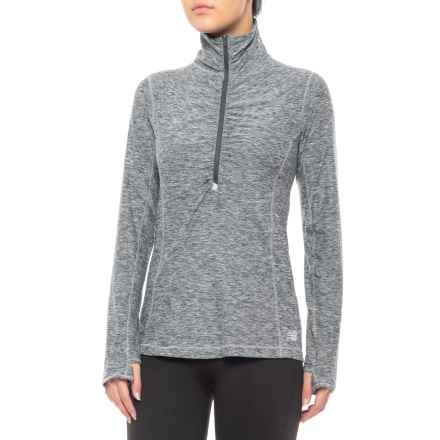 Core Space-Dye Jacket - Zip Neck (For Women) in Athletic Grey Heather - Closeouts