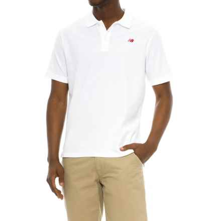 New Balance Cotton Pique Polo Shirt - Short Sleeve (For Men) in White - Closeouts