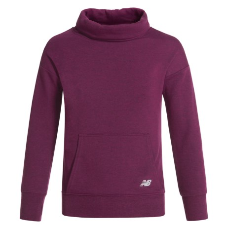 New Balance Cowl Neck Sweatshirt (For Big Girls) in Mulberry