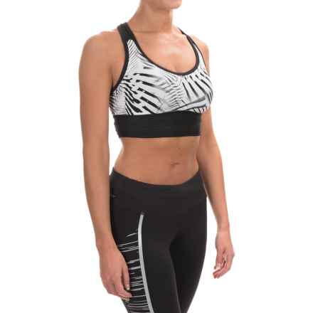 New Balance Crop Racerback Sports Bra - Low Impact (For Women) in Black/White - Closeouts