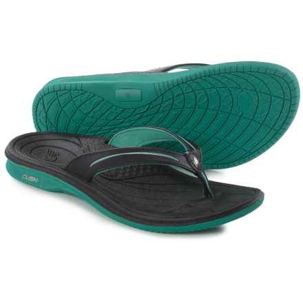 New Balance Cush Flip-Flops (For Women) in Black/Green - Closeouts