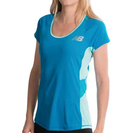 New Balance Excel Race Day Shirt - Short Sleeve (For Women) in Wave Blue - Closeouts