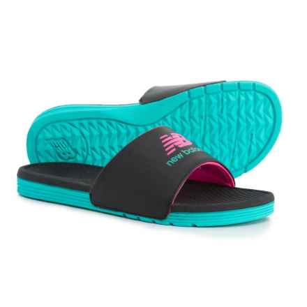 New Balance Fashion Color One-Band Slide Sandals (For Women) in Black/Pink/Light Blue - Closeouts