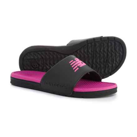 New Balance Fashion Color One-Band Slide Sandals (For Women) in Black/Pink - Closeouts