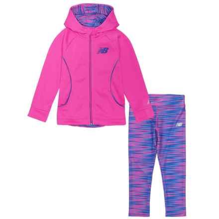 New Balance Fleece Sweatshirt and Leggings Set (For Toddler Girls) in Fuschia/Purple/Striped - Closeouts