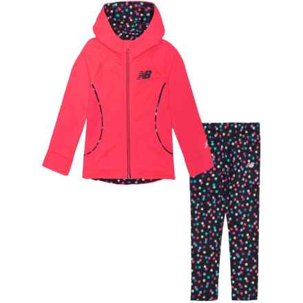 New Balance Fleece Sweatshirt and Leggings Set (For Toddler Girls) in Hot Pink/Dots - Closeouts