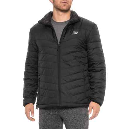 New Balance Fur-Lined Puffer Jacket - Insulated, Full Zip (For Men) in Black - Closeouts