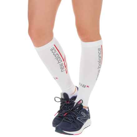 New Balance Graduated Compression Calf Sleeves (For Women) in White - Closeouts