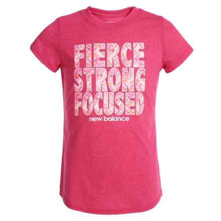 New Balance Graphic T-Shirt - Short Sleeve (For Big Girls) in Hot Pink - Closeouts
