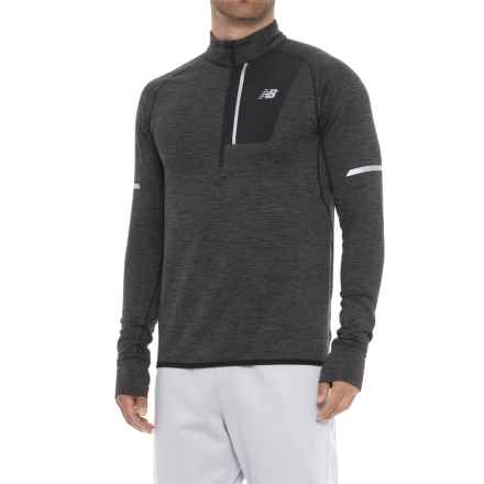 New Balance Heat Shirt - Zip Neck, Long Sleeve (For Men) in Heather Charcoal - Closeouts