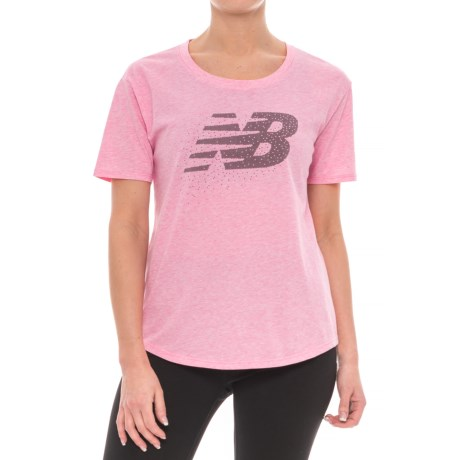 New Balance Heather Tech Graphic T-Shirt - Short Sleeve (For Women) in Akh Alpha Pink Heather
