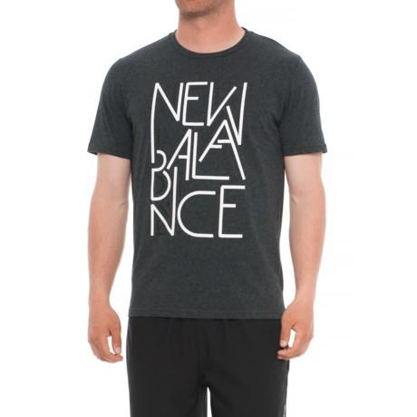 New Balance Heather Tech Shirt - Short Sleeve (For Men) in Black Multi