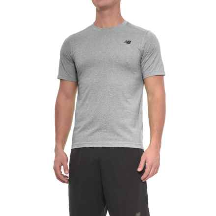 New Balance Heather Tech T-Shirt - Short Sleeve (For Men) in Athletic Grey/Blackheather - Closeouts