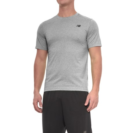 New Balance Heather Tech T-Shirt - Short Sleeve (For Men) in Athletic Grey/Blackheather