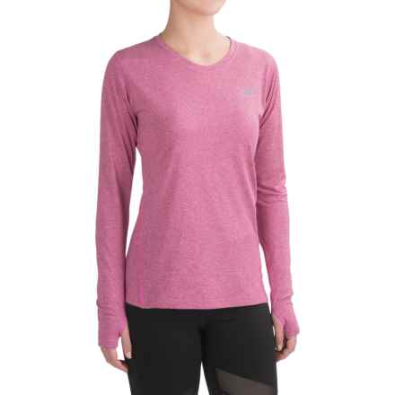 New Balance Heathered T-Shirt - Crew Neck, Long Sleeve (For Women) in Jewel Heather - Closeouts