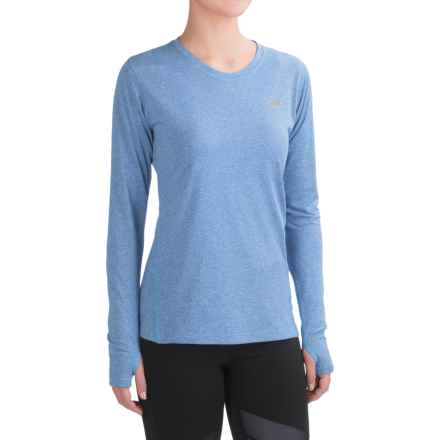New Balance Heathered T-Shirt - Crew Neck, Long Sleeve (For Women) in Majestic Blue Heather - Closeouts