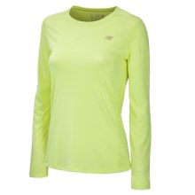 New Balance Heathered T-Shirt - Long Sleeve (For Women) in Sunny Lime - Closeouts