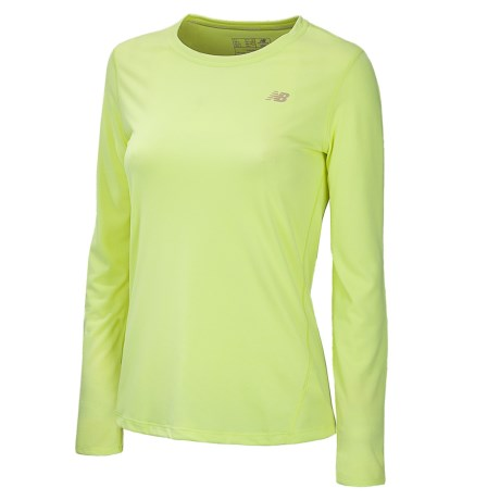 New Balance Heathered T-Shirt - Long Sleeve (For Women) in Sunny Lime