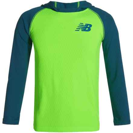 New Balance High-Performance Hooded Shirt - Long Sleeve (For Big Boys) in Blue/Green - Closeouts