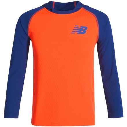 New Balance High-Performance Hooded Shirt - Long Sleeve (For Big Boys) in Team Royal/Dinomite - Closeouts