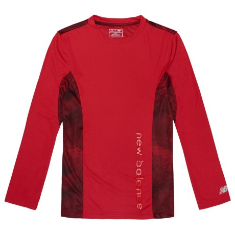 New Balance High-Performance Printed Shirt - Long Sleeve (For Big Boys) in Red
