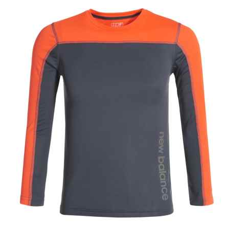 New Balance High-Performance T-Shirt - Long Sleeve (For Big Boys) in Grey/Orange - Closeouts
