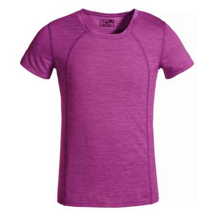 New Balance High-Performance T-Shirt - Short Sleeve (For Big Girls) in Hot Pink Heather - Closeouts