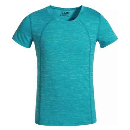 New Balance High-Performance T-Shirt - Short Sleeve (For Big Girls) in Sea Spray Heather - Closeouts