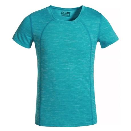 New Balance High-Performance T-Shirt - Short Sleeve (For Big Girls) in Sea Spray Heather