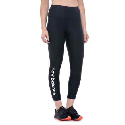 New Balance High-Rise Core Logo Cropped Leggings - High Waist (For Women) in Black Solid White Print - Closeouts