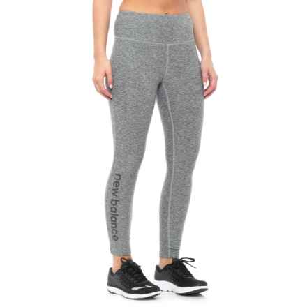 New Balance High-Rise Core Logo Cropped Leggings - High Waist (For Women) in Grey - Closeouts
