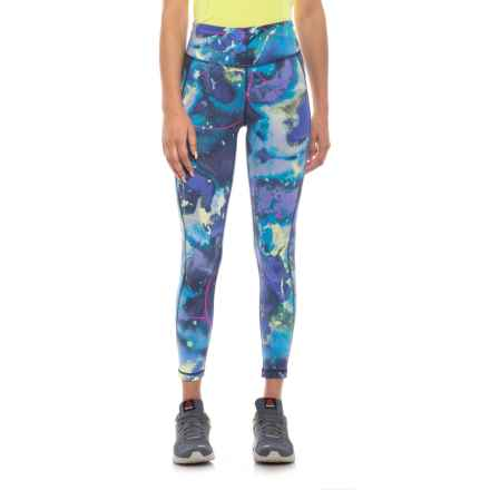 New Balance High-Rise Transform Printed Crop Pants (For Women) in Blue/Yellow - Closeouts
