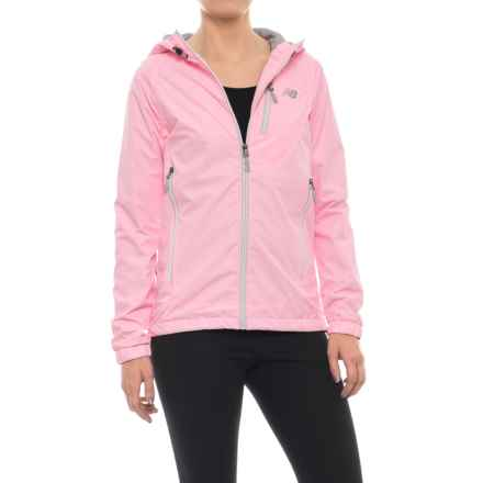New Balance Hooded Dobby Mock Neck Jacket (For Women) in Bleached Pink - Closeouts