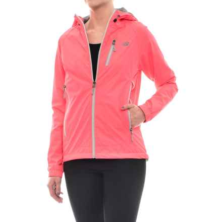 New Balance Hooded Dobby Mock Neck Jacket (For Women) in Guava - Closeouts