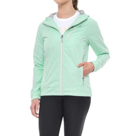 New Balance Hooded Dobby Mock Neck Jacket (For Women) in Seaform