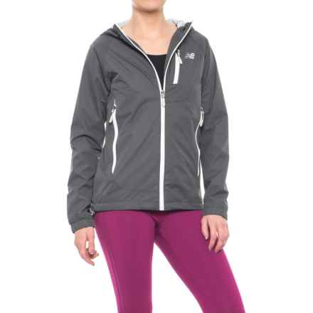 New Balance Hooded Dobby Neck Jacket (For Women) in Magnet - Closeouts