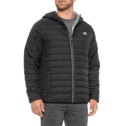 New Balance Hooded Puffer Jacket - Insulated (For Men) in Black - Closeouts