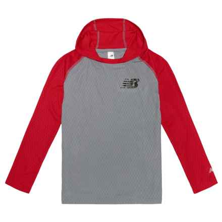 New Balance Hooded Shirt - Long Sleeve (For Big Boys) in Grey/Medium Red - Closeouts