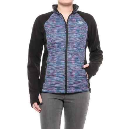 New Balance Hybrid Fleece Quilted Jacket (For Women) in Black/Multi Pink Spacedye - Closeouts