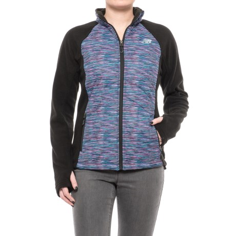 New Balance Hybrid Fleece Quilted Jacket (For Women) in Black/Multi Pink Spacedye