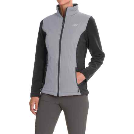 New Balance Hybrid Fleece Quilted Jacket (For Women) in Black/Silver Mink - Closeouts
