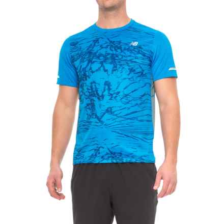 New Balance Ice Printed T-Shirt - Short Sleeve (For Men) in Ebp Electric Blue Print - Closeouts